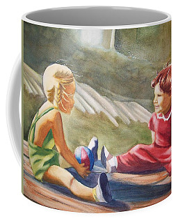 Girls Playing Ball  Coffee Mug by Marilyn Jacobson