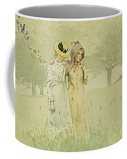 Girls Strolling In An Orchard Coffee Mug