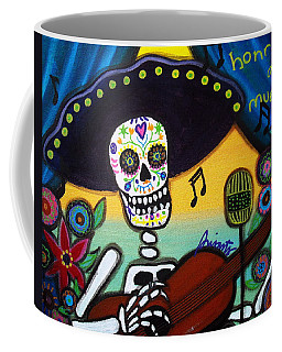 Coffee Mug featuring the painting Gitarero Day Of The Dead by Pristine Cartera Turkus