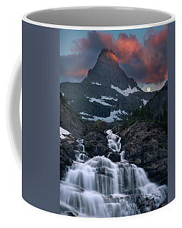 Coffee Mug featuring the photograph Glacier Morning Waterfall And Moonset by William Lee