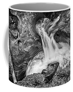 Glacier National Park's Avalanche Gorge In Black And White Coffee Mug