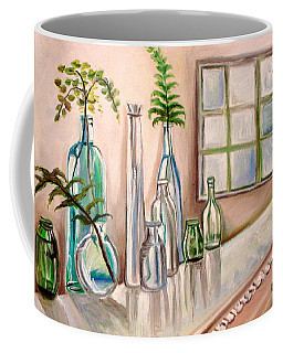 Coffee Mug featuring the painting Glass And Ferns by Elizabeth Robinette Tyndall
