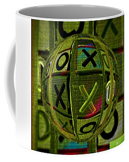 Coffee Mug featuring the painting Glass Marble Tic Tac Toe Art by Sheila Mcdonald