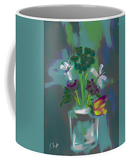 Coffee Mug featuring the digital art Glass Vase And Flowers Abstract by Frank Bright