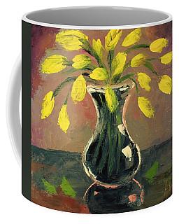 Glass Vase And Yellow Flowers Coffee Mug