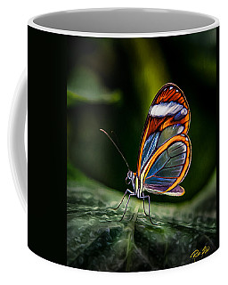 Coffee Mug featuring the photograph Glass-wing Iridescence  by Rikk Flohr
