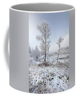 Coffee Mug featuring the photograph Glen Shiel Misty Winter Trees by Grant Glendinning