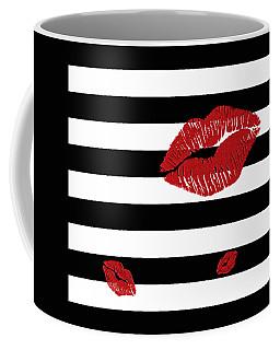 Glitter Red Lips On Black And White Stripes Coffee Mug