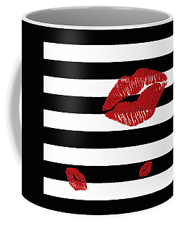 Glitter Red Lips On Black And White Stripes Coffee Mug