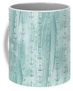 Glittery Mint Anchors Coffee Mug