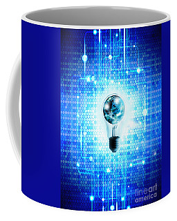 Globe And Light Bulb With Technology Background Coffee Mug