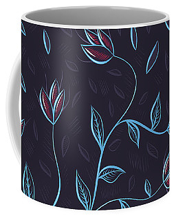 Glowing Blue Abstract Flowers Coffee Mug