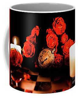 Glowing Clock With Flowers Coffee Mug