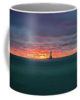 Glowing Sunset On Lake With Lighthouse Coffee Mug