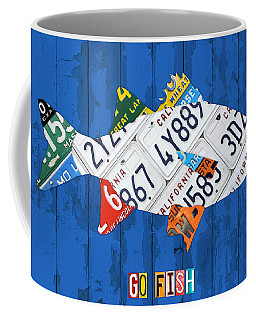 Go Fish Freshwater Bass Recycled Vintage License Plate Art Coffee Mug