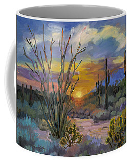 Coffee Mug featuring the painting God's Day - Sonoran Desert by Diane McClary