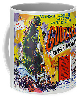 Godzilla King Of The Monsters An Enraged Monster Wipes Out An Entire City Vintage Movie Poster Coffee Mug