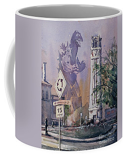 Coffee Mug featuring the painting Godzilla Smash Ncsu- Raleigh by Ryan Fox