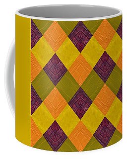 Coffee Mug featuring the painting Gold And Green With Orange 2.0 by Michelle Calkins