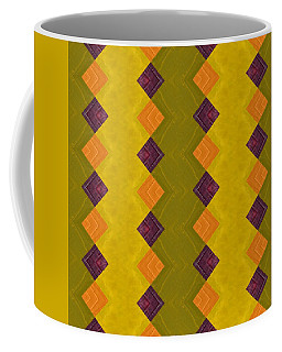 Coffee Mug featuring the painting Gold And Green With Orange  by Michelle Calkins