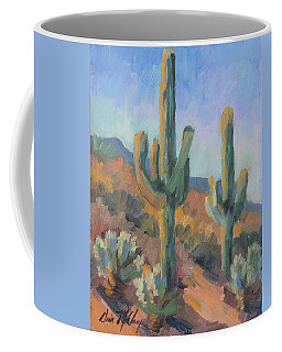 Coffee Mug featuring the painting Gold Canyon Saguaros by Diane McClary