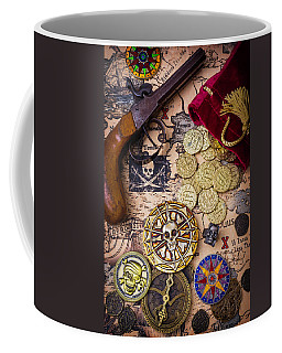 Gold Coins On Pirate Map Coffee Mug