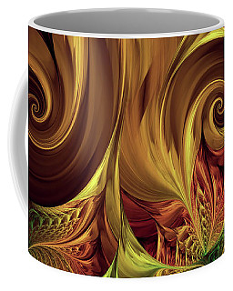 Coffee Mug featuring the digital art Gold Curl by Deborah Benoit