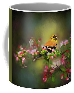 Gold Finch And Blossoms Coffee Mug