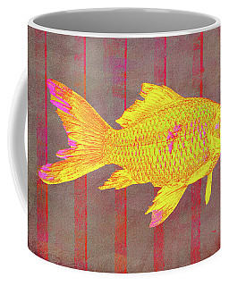 Gold Fish On Striped Background Coffee Mug