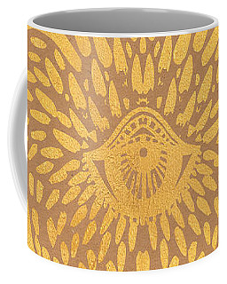 Gold Hamsa Hand On Brown Paper Coffee Mug