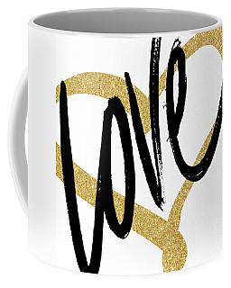 Gold Heart Black Script Love Coffee Mug