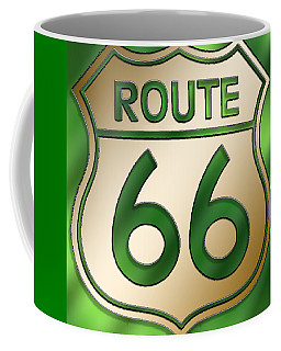 Gold Route 66 Sign Coffee Mug
