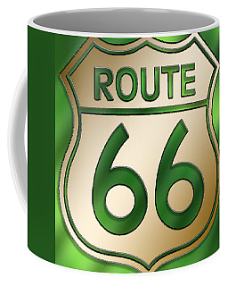 Coffee Mug featuring the digital art Gold Route 66 Sign by Chuck Staley