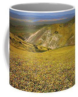 Gold Wildflower Fields From The Temblor Range Looking Down To Soda Lake At Carrizo Plain Coffee Mug