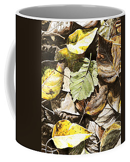 Coffee Mug featuring the painting Golden Autumn - Talkeetna Leaves by Karen Whitworth