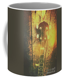 Golden Banjo Neck In Retro Folk Style Coffee Mug by Jorgo Photography - Wall Art Gallery