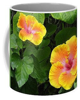 Golden Floral Beam Of Two Coffee Mug