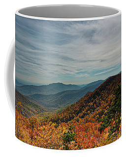 Coffee Mug featuring the photograph Golden Blue Ridge Under The Clouds by Lara Ellis