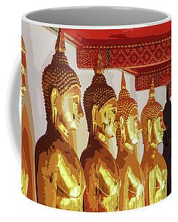 Golden Buddha Statues In A Row Coffee Mug