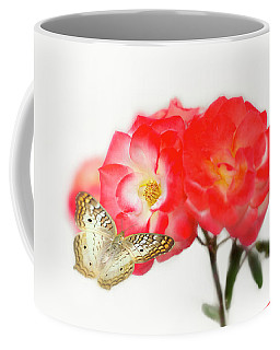 Golden Butterfly On Roses Coffee Mug
