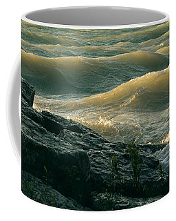 Coffee Mug featuring the photograph Golden Capped Sunset Waves Of Lake Michigan by SimplyCMB