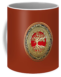 Golden Celtic Tree Of Life  Coffee Mug by Serge Averbukh