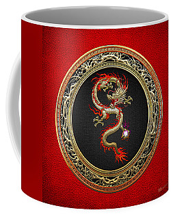 Golden Chinese Dragon Fucanglong On Red Leather  Coffee Mug