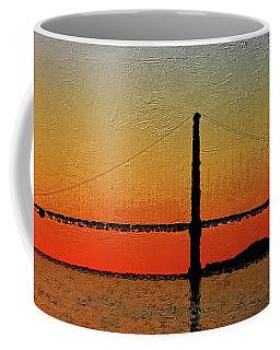 Coffee Mug featuring the digital art Golden Gate Bridge Panoramic by PixBreak Art