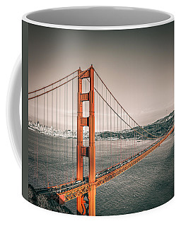 Coffee Mug featuring the photograph Golden Gate Bridge Selective Color by James Udall