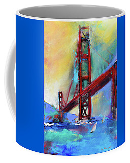 Coffee Mug featuring the painting Golden Gate Colors by Elise Palmigiani