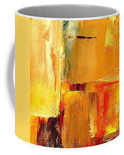 Golden Glow Abstract Square Coffee Mug