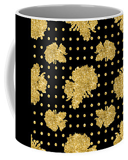 Golden Gold Floral Rose Cluster W Dot Bedding Home Decor Art Coffee Mug