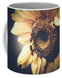 Coffee Mug featuring the photograph Golden Honey Bees And Sunflower by Sharon Mau