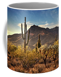 Coffee Mug featuring the photograph Golden Hour On Usery Mountain  by Saija Lehtonen